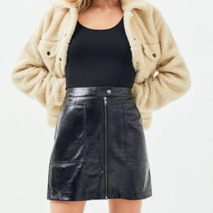 Mink Pink Faux Black Leather Coyote Mini Skirt